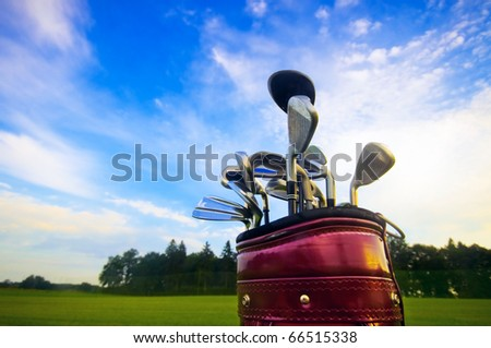Professional golf gear on the golf field. - stock photo