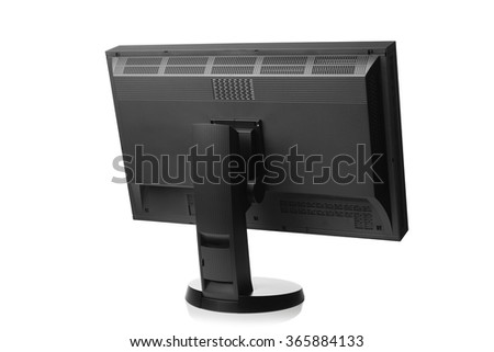professional graphic monitor, rear view isolated on white - stock photo
