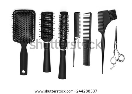 Professional hairdresser tools isolated on white - stock photo