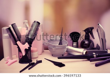 Professional hairdresser tools on table - stock photo