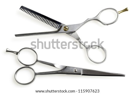 Professional hairdressing scissors on white background - stock photo