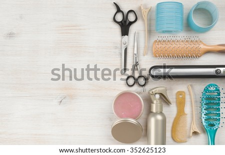 Professional hairdressing tools and accessories with left side copy space - stock photo