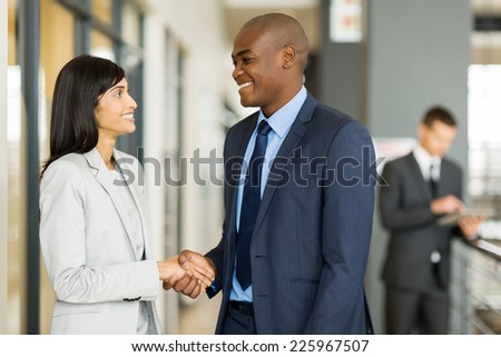 professional indian businesswoman handshaking with african businessman - stock photo
