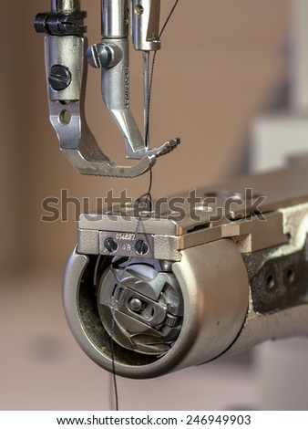 Professional Leather sewing machine with needle ready for action - stock photo