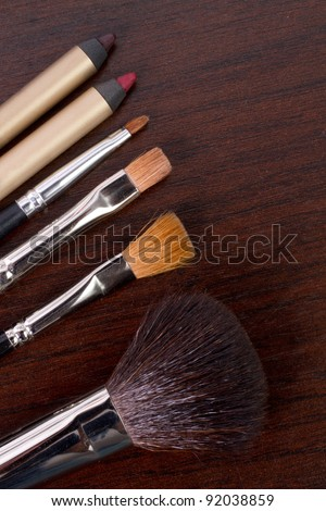 professional make-up tools border - stock photo