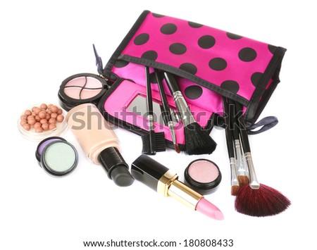 Professional make-up tools isolated on white - stock photo