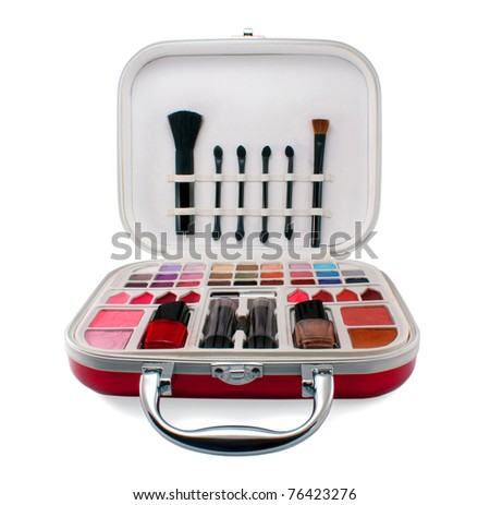 Professional make-up tools isolated on white background - stock photo