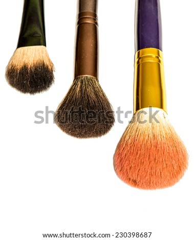 Professional makeup brush set isolated on white - stock photo