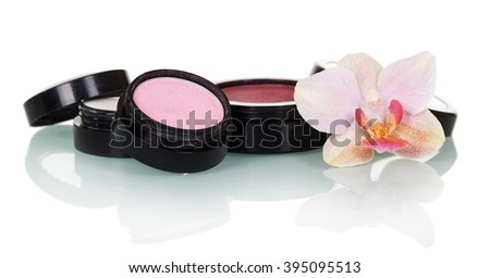 Professional makeup: eye shadow, blush and orchid flower isolated on white background. - stock photo