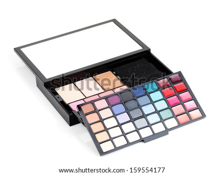 Professional makeup kit. Isolated on white background - stock photo