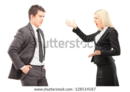 Professional male and female having an argument isolated on white background - stock photo