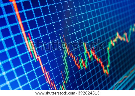 Professional market analysis. Display of quotes pricing graph visualization. Data on live computer screen. Stock exchange graph. Currency trading theme. Price chart bars.   - stock photo