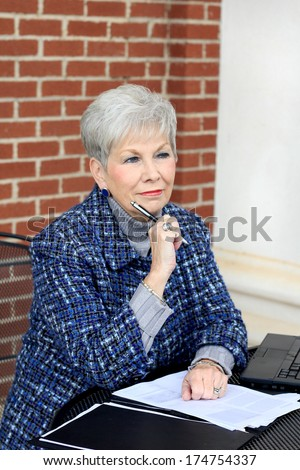 Professional Mature CEO Business Woman Retired Beautiful Woman - stock photo