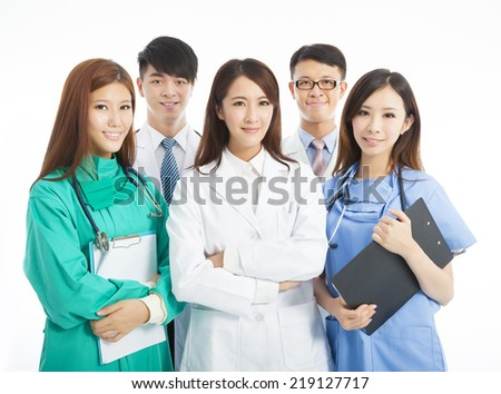 Professional medical doctor team standing over white background - stock photo