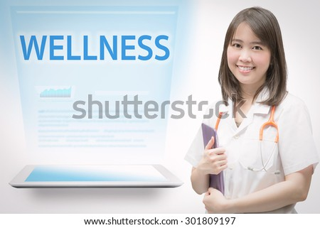 professional medical service concept with smiling doctor and medical information - stock photo