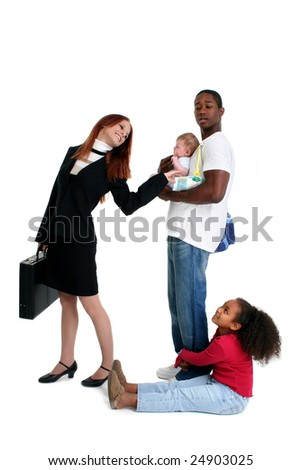 Professional mom heading to work while dad takes care of kids. - stock photo