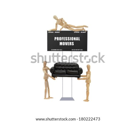 Professional Movers Sign Licensed Insured Efficient Reliable Mannequins moving black sofa isolated on white background - stock photo
