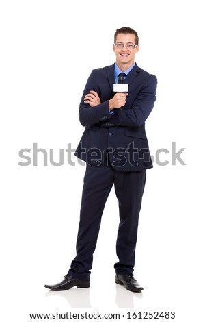 professional news reporter holding microphone isolated on white - stock photo