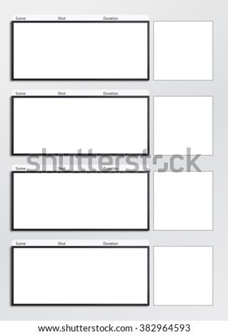 Professional of film scale storyboard template for easy to present the process of story. A4 design of paper ratio is easy to fit for print out. - stock photo