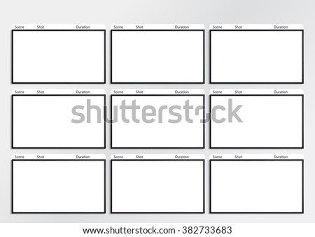Professional of film storyboard template for easy to present the process of story. - stock photo