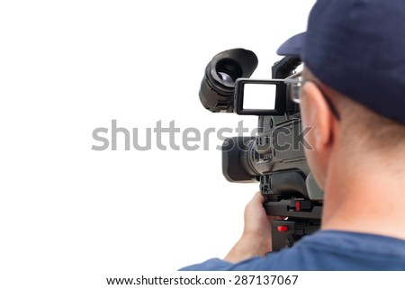 Professional operator with a video camera at work. Isolated on white background. - stock photo