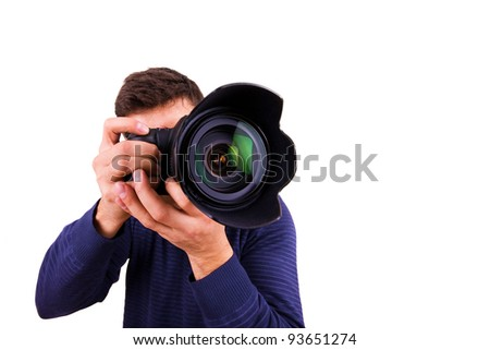 Professional photographer with camera on white background - stock photo