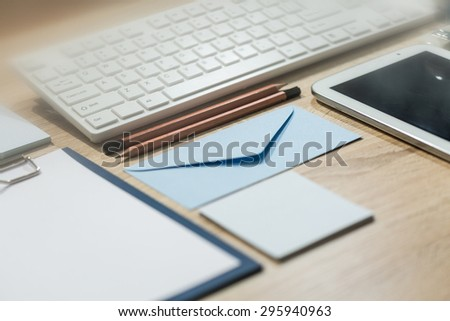 Professional prepared desk office with computer keyboard - stock photo