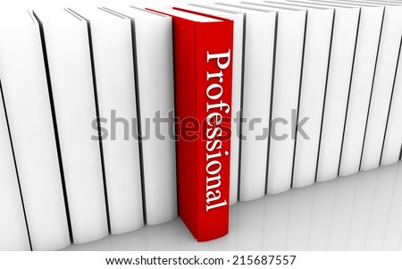 Professional red book standing out from a row of book - stock photo