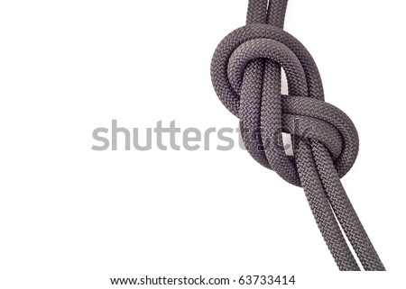 Professional Rock Climbing Knot with Space for Text - stock photo