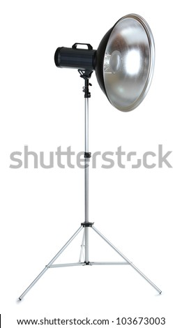 Professional studio flash isolated on white - stock photo