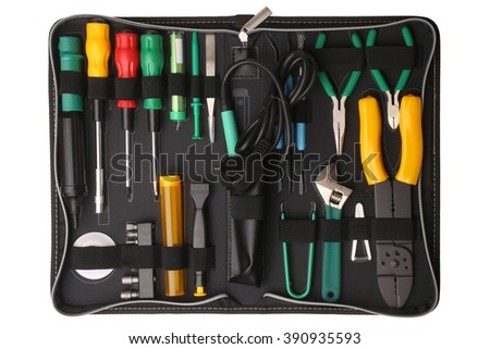 Professional tool kit case for network computer repair isolated on white background - stock photo