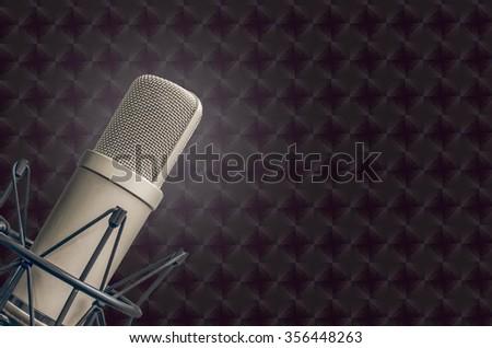 professional tube Microphone in tv, radio studio - stock photo