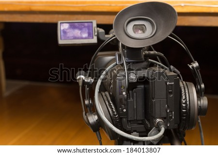 professional video camera - stock photo