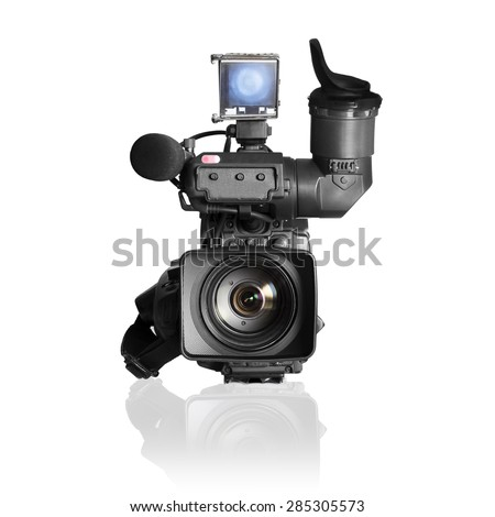 professional videocamera, camcoder on white. - stock photo