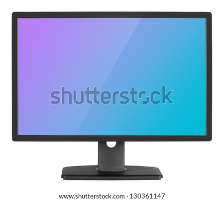 Professional widescreen computer monitor isolated on white background with clipping path - stock photo