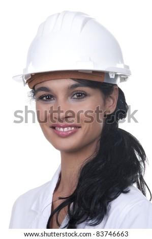 professional with white helmet - stock photo