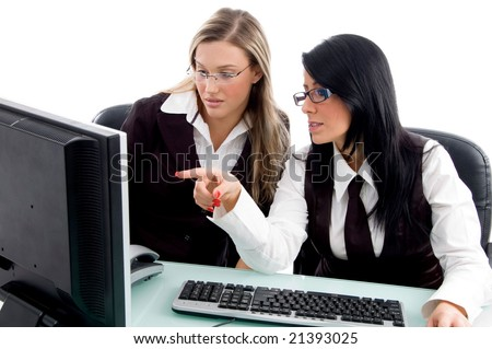 professional women checking office profile in own pc in office - stock photo