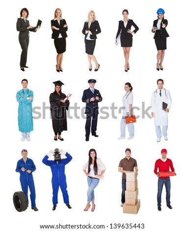Professional workers, businessman, cook, pilot, doctor, builders. Isolated on white - stock photo