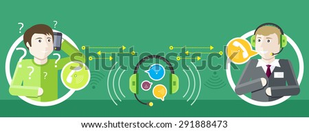 Professions concept of call centre operator with headset and client asks question. In the middle headset and speech bubbles. Client services and communication. Individual approach. Raster version - stock photo