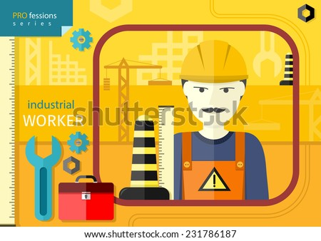 Professions concept with industrial worker in workwear and helmet  on manufacturing background. Raster version  - stock photo