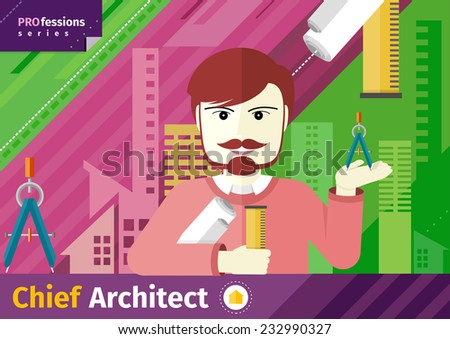 Professions concept with male chief architect with compasses in hand on industrial background. Raster version - stock photo