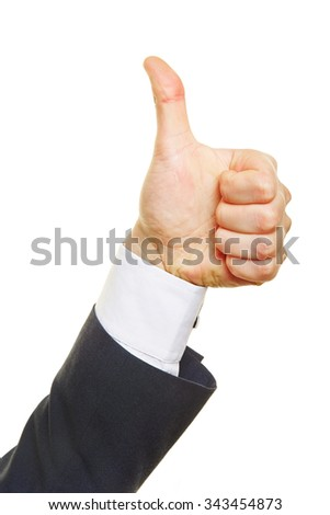 Profie view of a thumbs up from a business man - stock photo