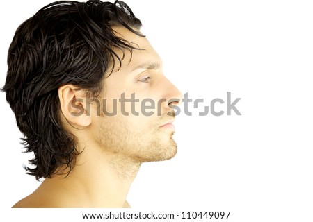 Profile closeup of italian handsome man with beard and black hair serious isolated - stock photo