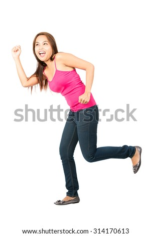 Profile excited, cute Asian girl casually dressed with big smile looking up and away, exaggerated running, chasing after something off-screen - stock photo