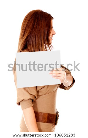 Profile mugshoot of a woman - isolated over a white background - stock photo
