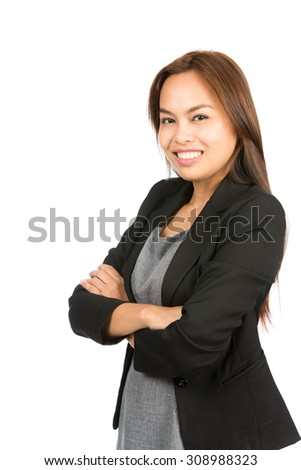 Profile natural, charming, gorgeous Asian woman with light brown hair in business casual black suit jacket with folded arms smiling looking at camera. Thai national of Chinese origin. Vertical half - stock photo