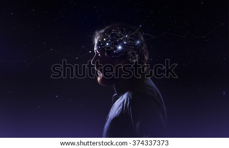Profile of a bearded man head with  symbol neurons in brain. Thinking like stars, the cosmos inside human, background night sky - stock photo