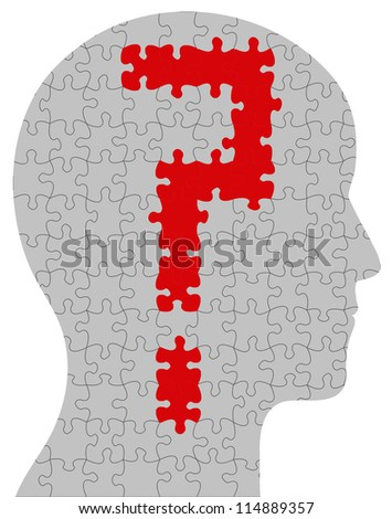 Profile of a head containing a question mark in puzzle/jigsaw format - stock photo