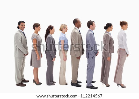 Profile of a smiling business team in single line against white background - stock photo
