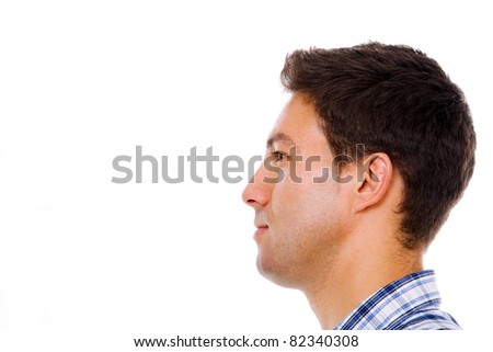 Profile of a young casual man, isolated on white - stock photo